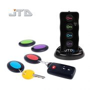 JTD  Wireless RF Item Locator/Key Finder with LED flashlight and base support. With 4 Receivers Key Finder-Wireless key RF locator, Remote Control, Pet, Cell, Wireless RF Remote Item, Wallet Locator. (4 Receivers)